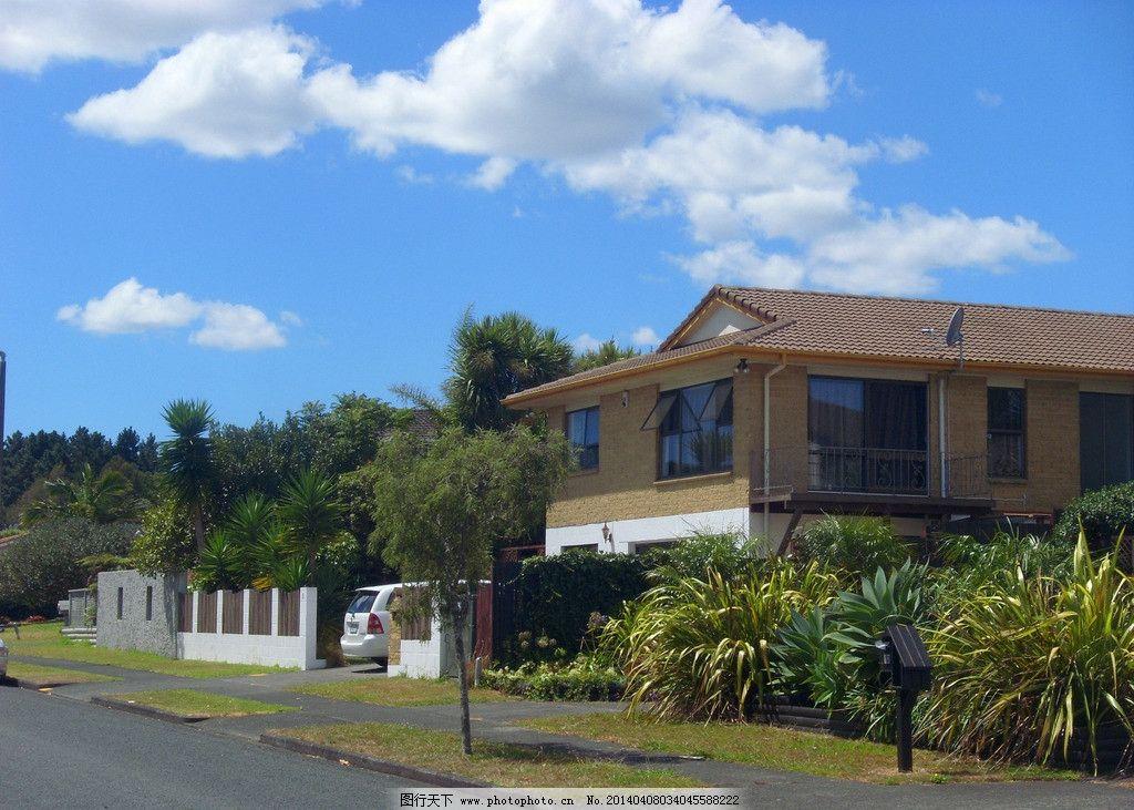 新西兰风景 蓝天 白云 绿树 绿地 建筑 别墅 围墙 道路 新西兰风光