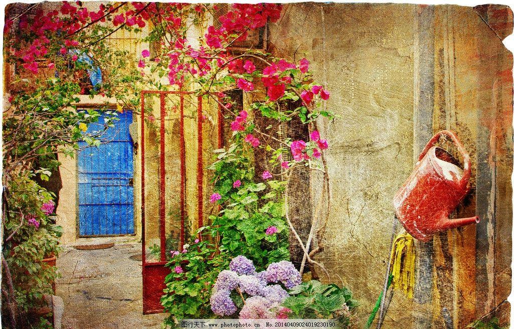门口花设计素材 门口花模板下载 门口花 欧式 庭院 温馨 园林建筑