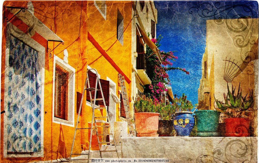 欧式建筑风景 建筑园林 摄影鲜花 门口 小街道 庭院 街景 人文景观