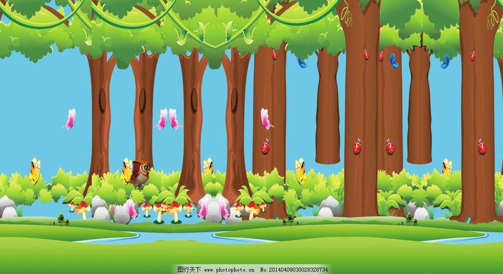 卡通树林 树木图片