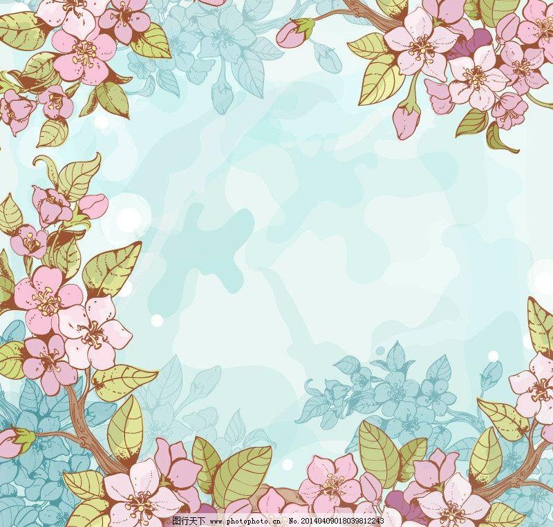 手绘花卉 花卉 花纹花卉 鲜花 桃花 樱花 花环 花圈 卡通花卉 绿叶