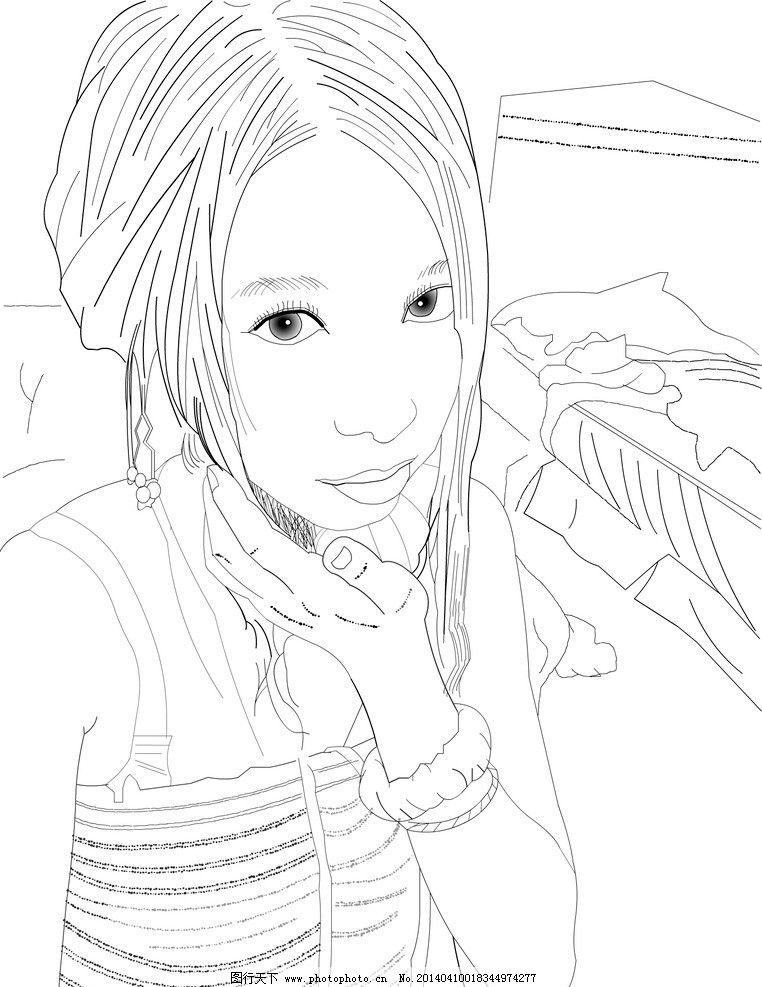 手绘线稿 线描 素描 场景 漂亮 手绘 动漫人物 动漫动画 设计 160dpi