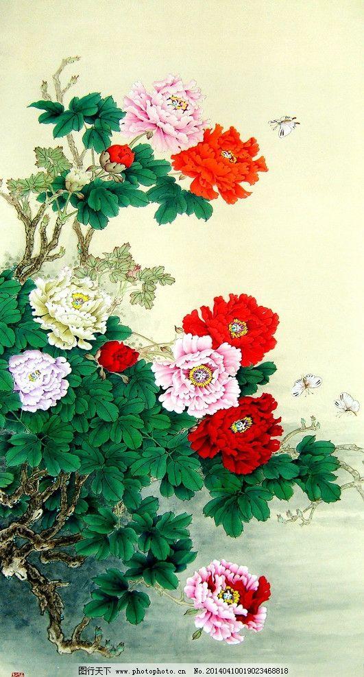 春色满天 美术 中国画 工笔画 花木 花朵 牡丹花 彩蝶 国画艺术 绘画