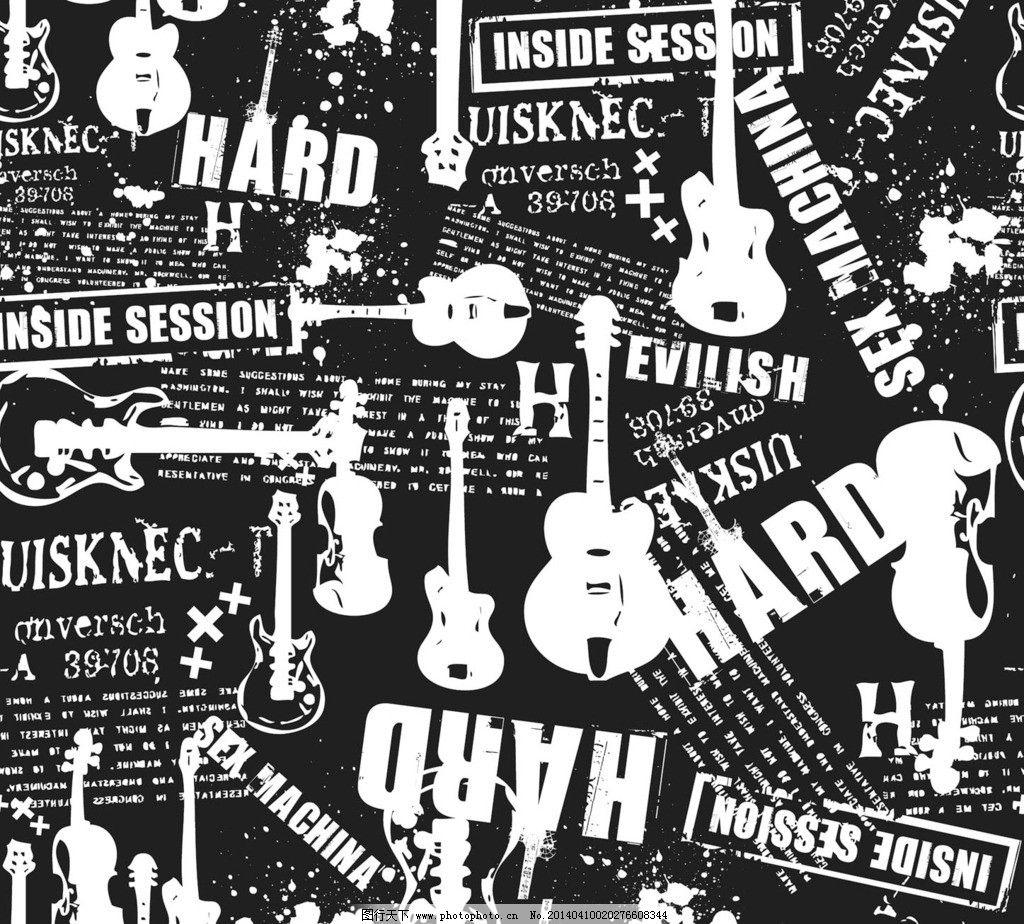 吉他黑白主题背景图片