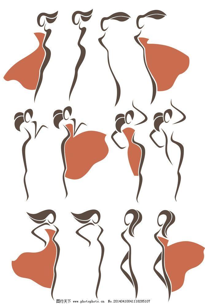 手绘女性 手绘少女 女人 创意 线条 都市时尚美女 线描 女子图片