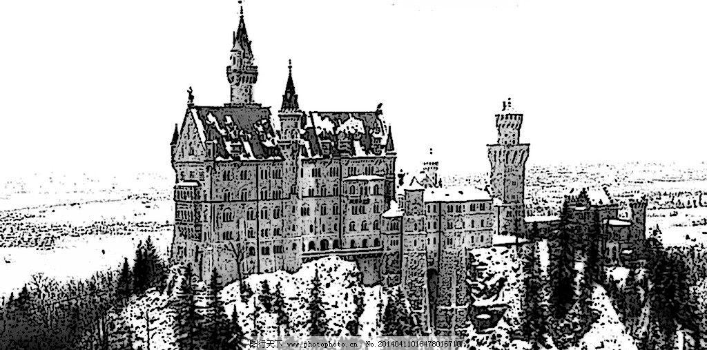 城堡 黑白 雪景 欧洲 素描 洛可可 深林 风景漫画 动漫动画 设计 72dp