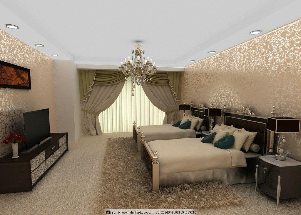 酒店客房 现代 欧式 优雅 床铺图片