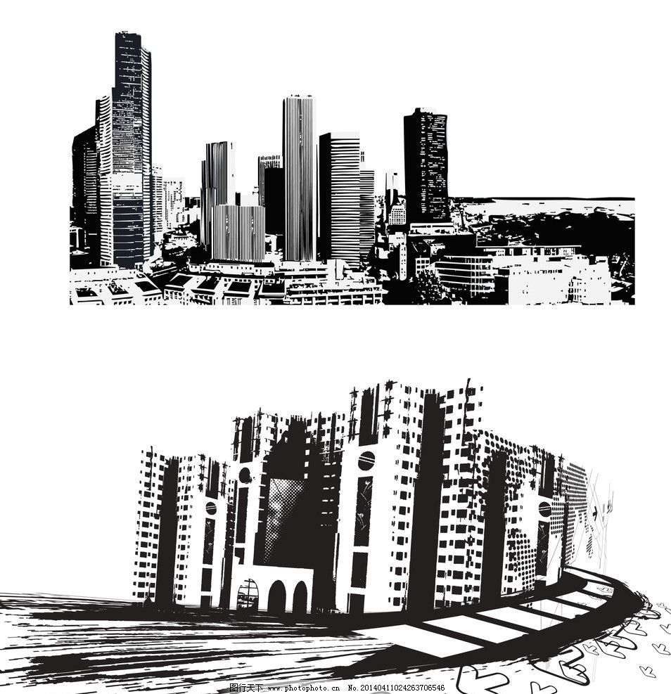建筑 手绘人物 交通工具 剪影 铅笔画 素描 速写 房屋 线条楼房 城市
