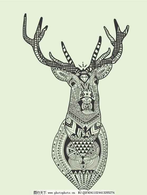 线稿鹿头 卡通图图片