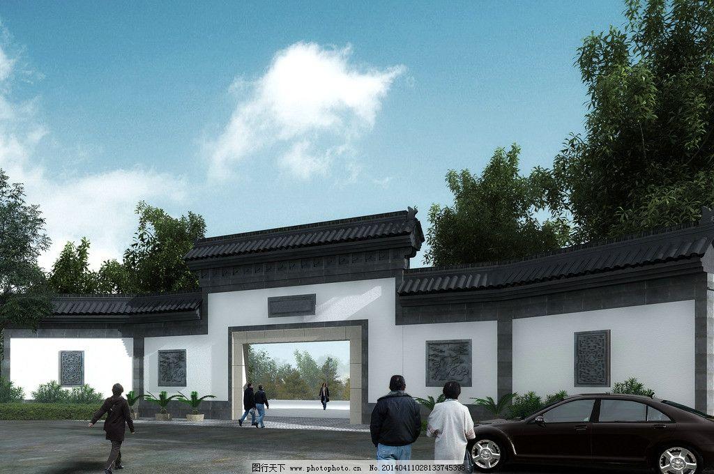 围墙大门透视 特色 民宿 民居 山村        园林 设计 规划 建筑 景观