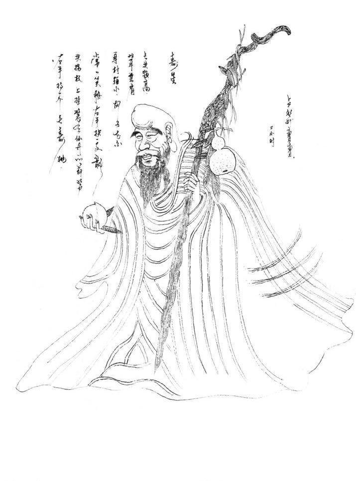 钢笔书画寿星 卢彬利 钢笔画 书画作品 寿星 手绘书画 绘画书法 文化