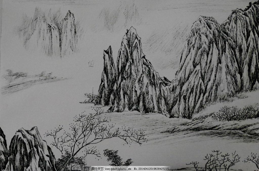 钢笔画风景模板下载 钢笔画风景 钢笔画 素描 美术 山水画 原创 绘画
