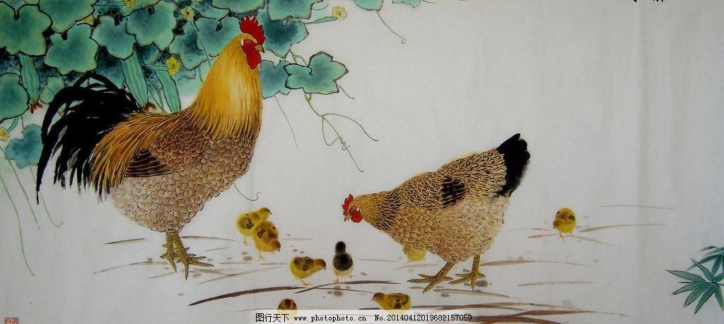 天伦之乐模板下载 天伦之乐 公鸡 母鸡 小鸡 动物 丝瓜 瓜果 蔬菜
