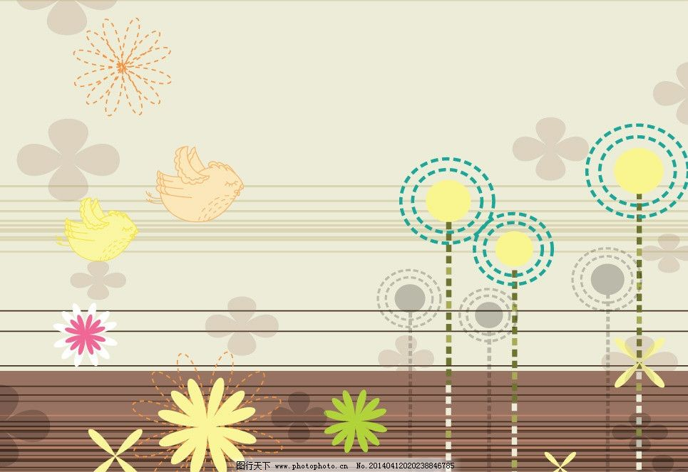 卡通背景 花纹 手绘花卉 春天背景 手绘 布纹 文本框 植物花纹 精美花