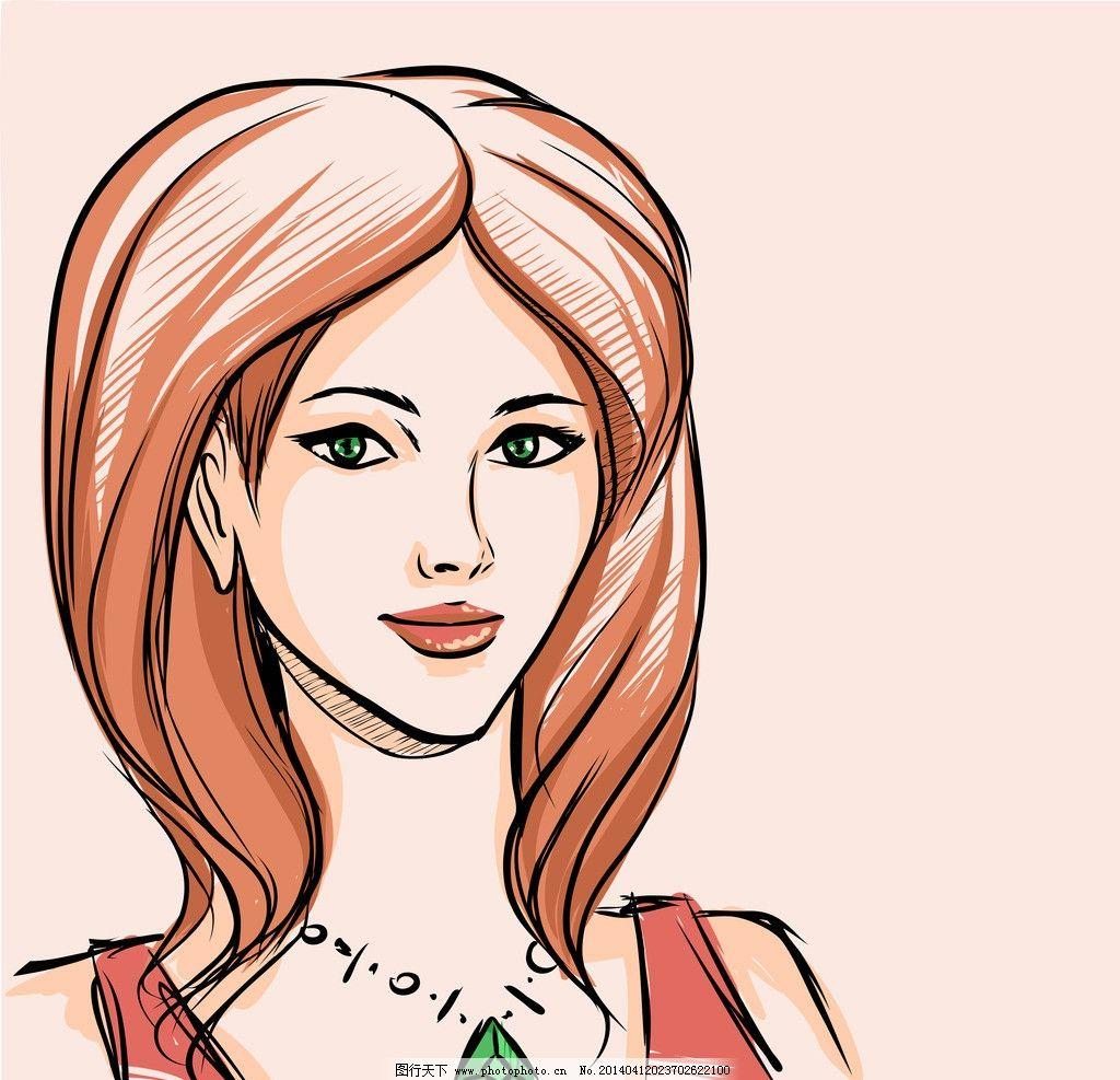 手绘少女 发型 理发店 头像 手稿 女孩 女人 时尚 时髦 女性