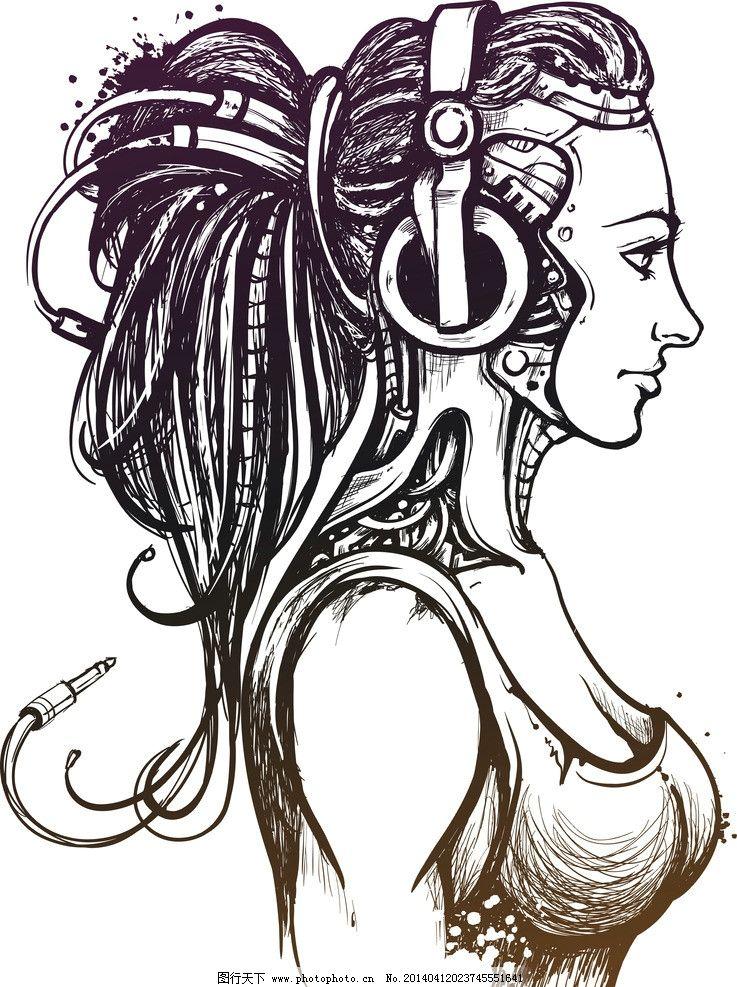 手绘美女 手绘少女 女孩 听音乐 女人 少女 线描 头发 发型 长发 时尚
