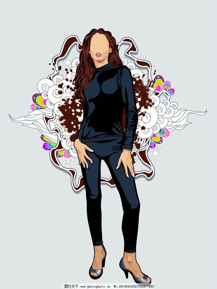 女子 素描 时尚女孩速写插图 女生 休闲 漂亮 美女 矢量女人 矢量人物