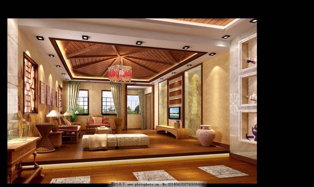 客厅装饰设计 桌子 沙发 枕头 电视机 瓷器 装饰品 水果 挂画 台灯