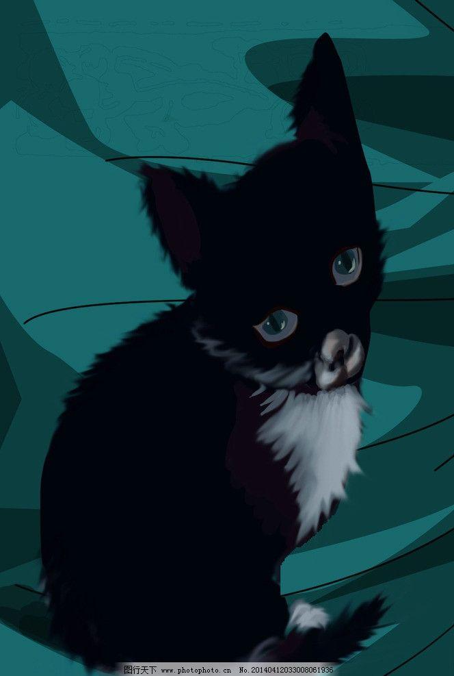 手绘 猫 黑色 可爱背影 手绘猫 psd分层素材 源文件 300dpi psd