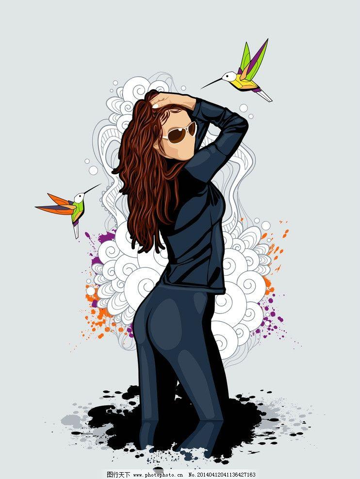 手绘美女 手绘少女 女孩 墨迹 女人 少女 线描 头发 发型 长发 时尚