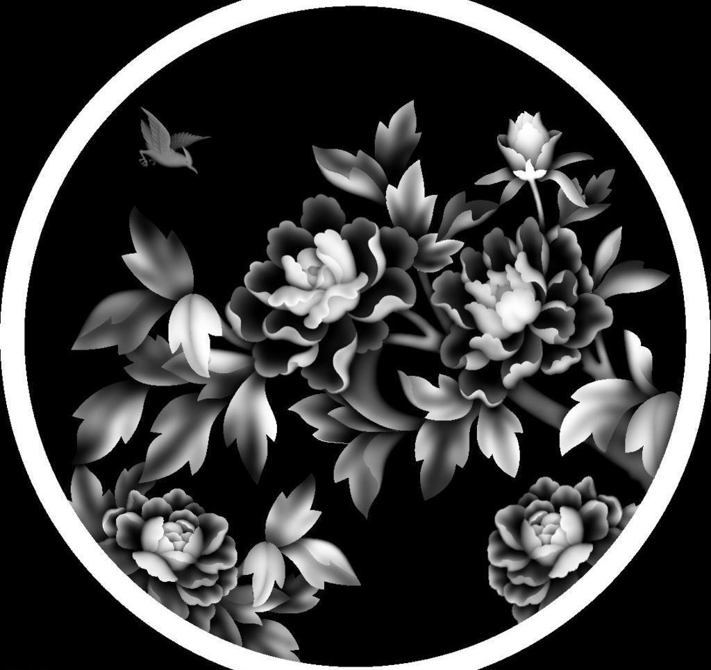 传统文化 浮雕 富贵牡丹花 灰度图 精雕 精雕图 牡丹花 木雕 牡丹花