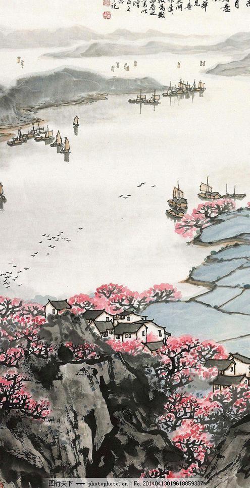 江南三月春意浓 国画 绘画书法 山水 山水画 诗意 水墨画 桃花图片