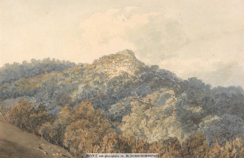 风景油画 村庄 风景油画模板下载 国外油画 绘画书法 森林 山村