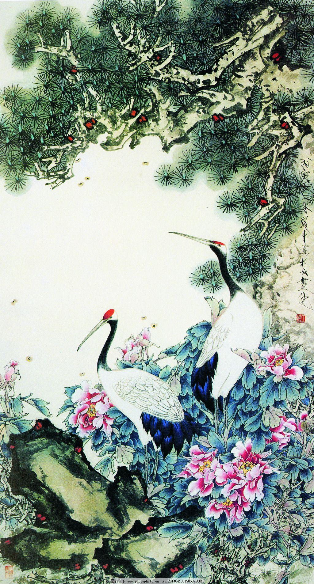 丹顶鹤图 丹顶鹤图免费下载 国画 松树 图片素材 文化艺术