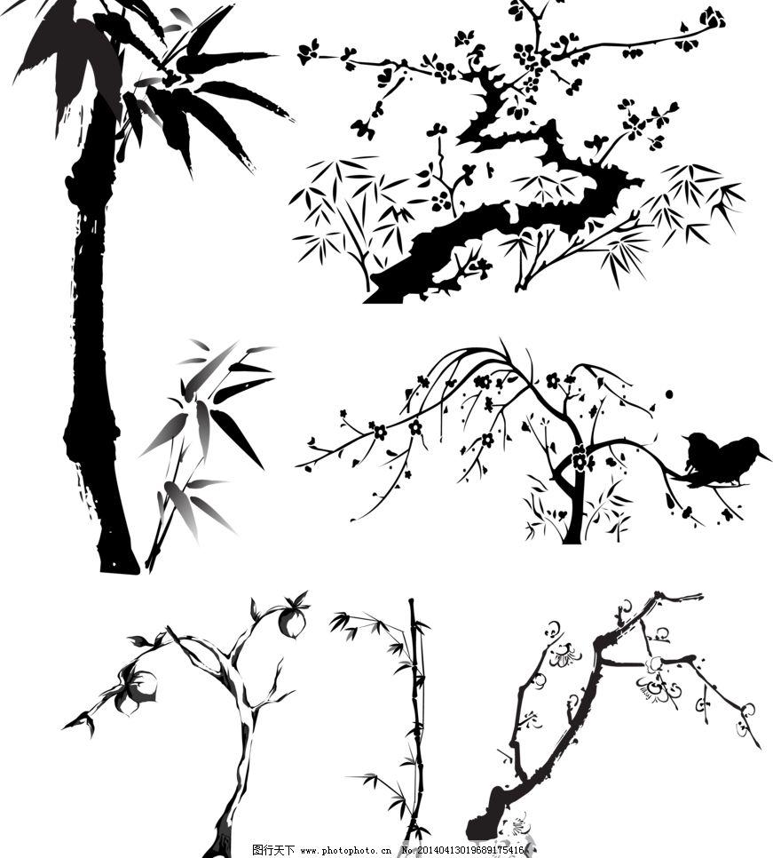 竹子 竹子梅花设计素材 竹子梅花模板下载 竹子梅花 梅花 竹子 黑白