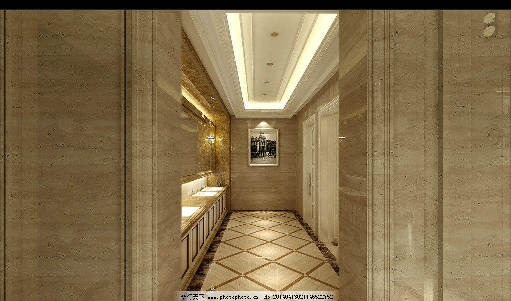 洗手间效果图 售楼处效果图 欧式 理石 壁灯 相框 欧式风格
