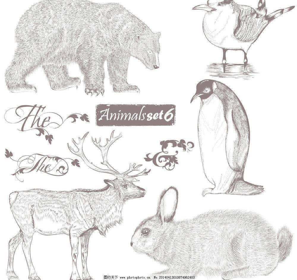 动物 复古 花边 花纹 家禽家畜 剪影 鹿 美术绘画 欧式花纹 手绘动物