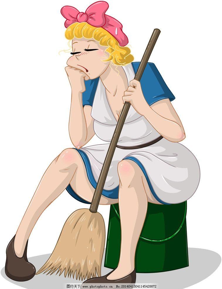 手绘美女 家庭主妇 清洁工 手绘服装设计 潮流 设计 时装手稿 女孩