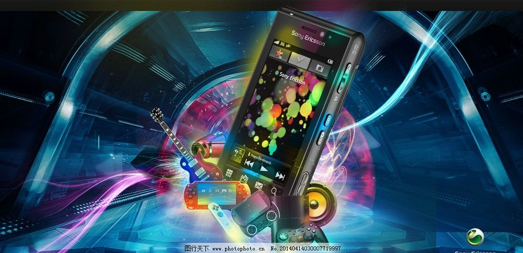 创意手机 蓝色背景 炫酷手机 蓝色线条 电吉他 扬声器 喇叭 游戏手机