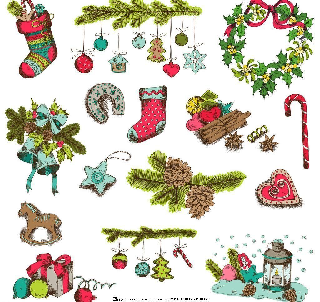 潮流 装饰 海报 圣诞节主题 圣诞节矢量素材 圣诞节 矢量 eps 手绘