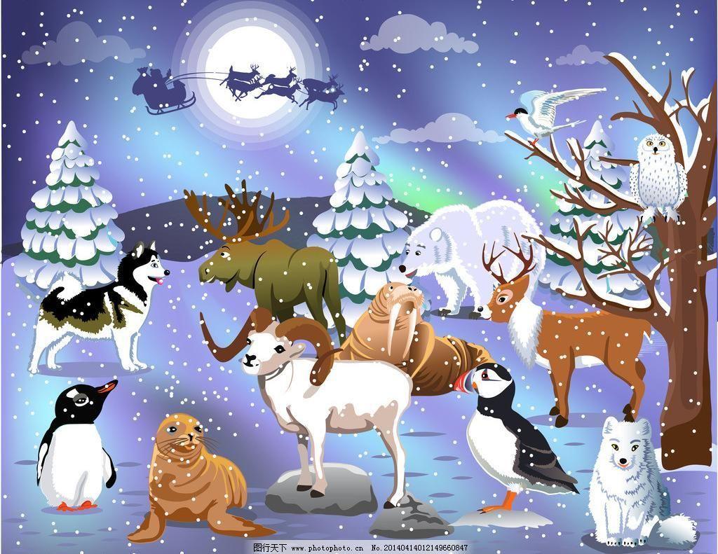狼 圣诞雪景矢量素材 圣诞雪景模板下载 圣诞雪景 圣诞 雪景 动物