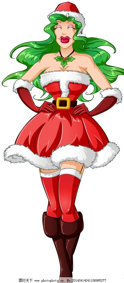 手绘美女 手绘服装设计 潮流 性感 圣诞节 时装手稿 女孩 女人