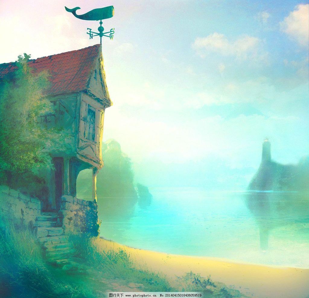 动漫风景 背景 湖边 手绘 风景 童话 风景漫画 动漫动画 设计 300dpi