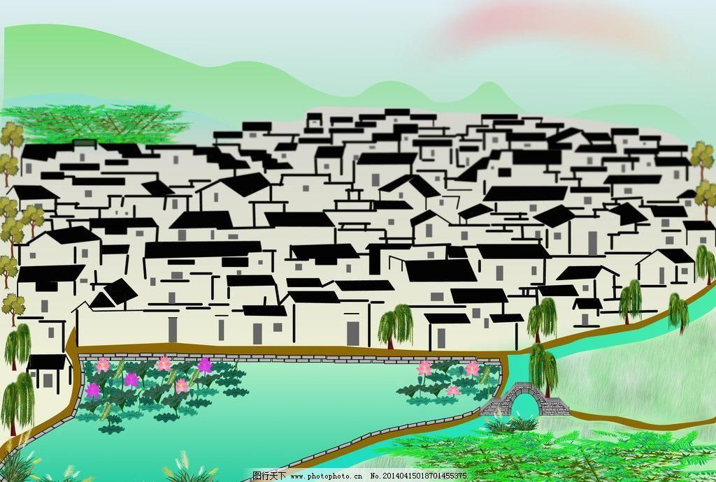 微州小镇 动漫动画 风景漫画 古镇 农村 微州小镇设计素材 微州小镇模