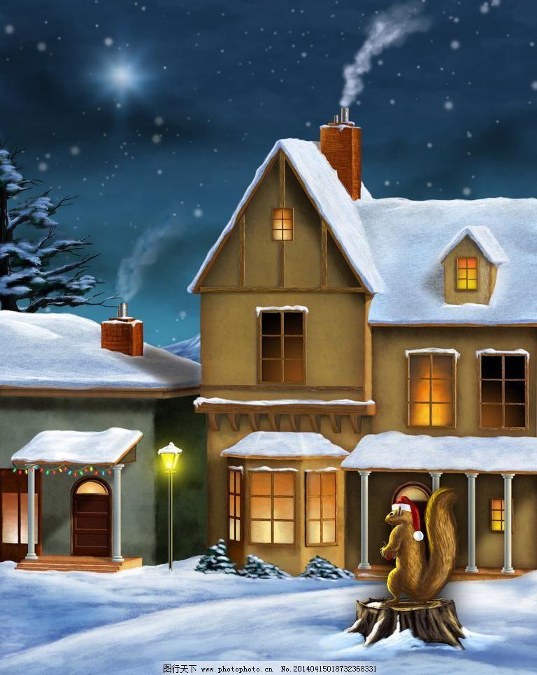 300dpi jpg 大雪 灯光 冬天 动漫动画 动物 房屋 风景漫画 设计 雪夜