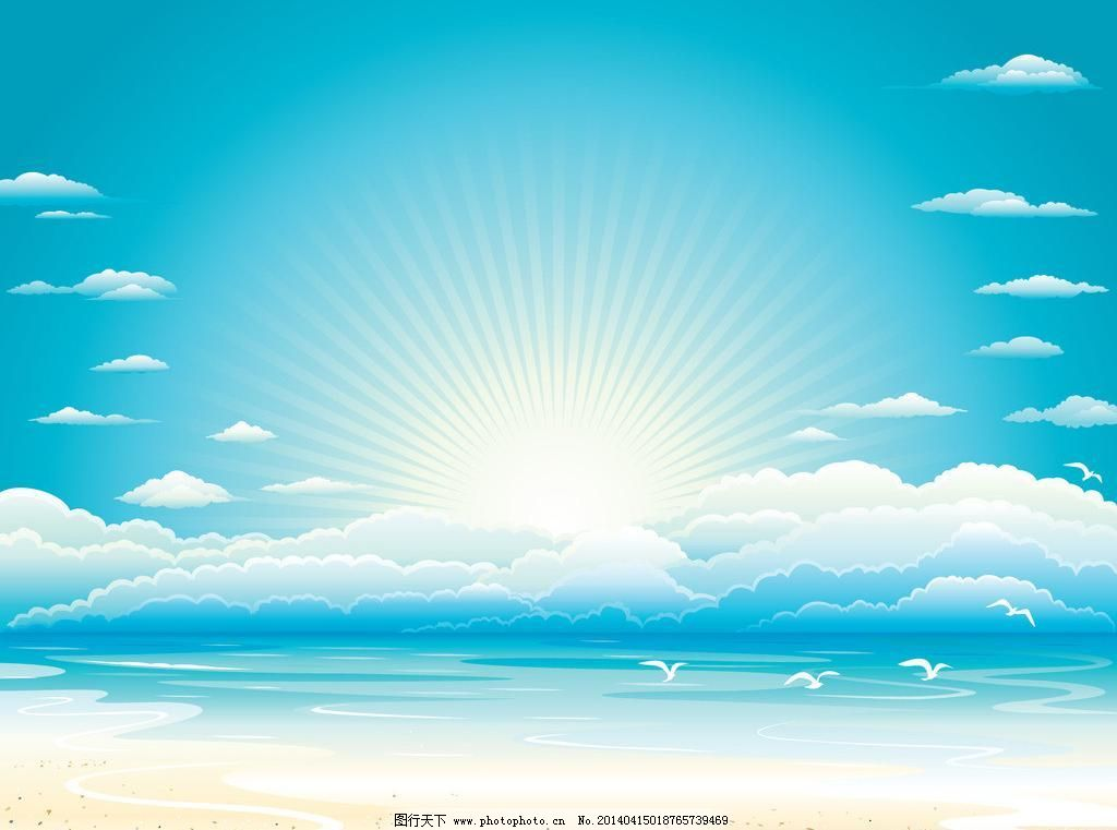 蓝色天空背景图片_可爱卡通_动漫卡通_图行天下图库