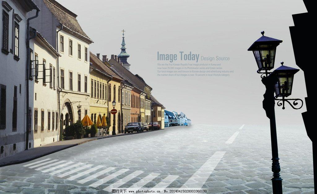 欧式街道 欧式建筑 路灯