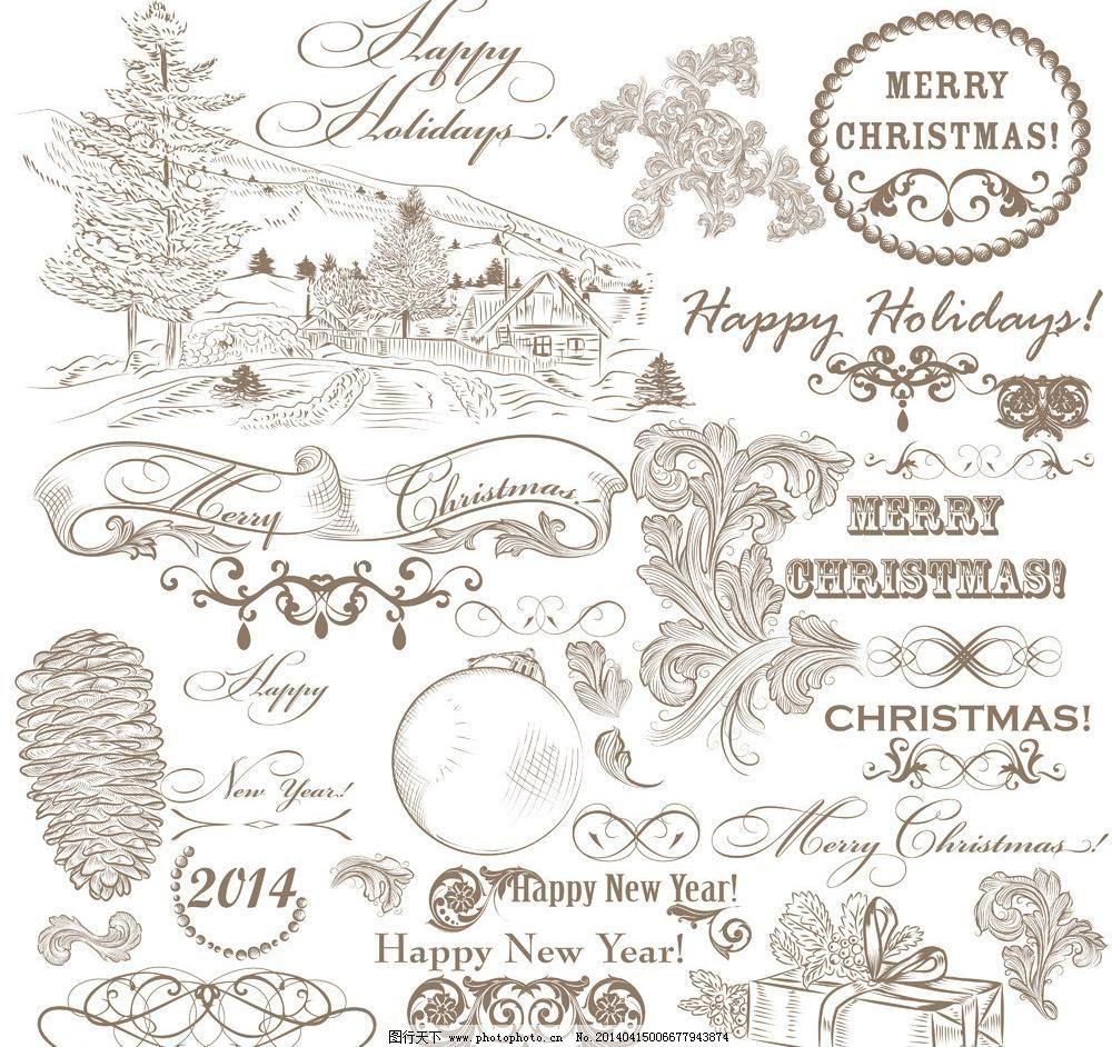 节日素材 欧式花纹 圣诞背景 圣诞海报 圣诞节 圣诞节矢量素材 手绘