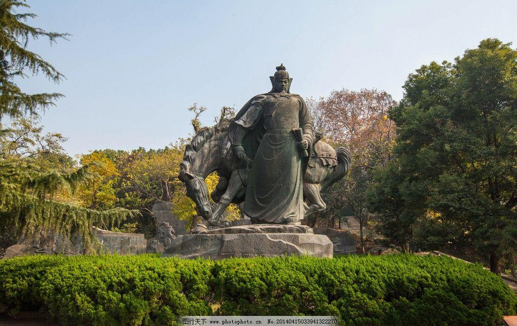 黄鹤楼 岳飞广场 湖北 蓝天 亭子 雕像 武汉 文化古楼 江南三大名楼