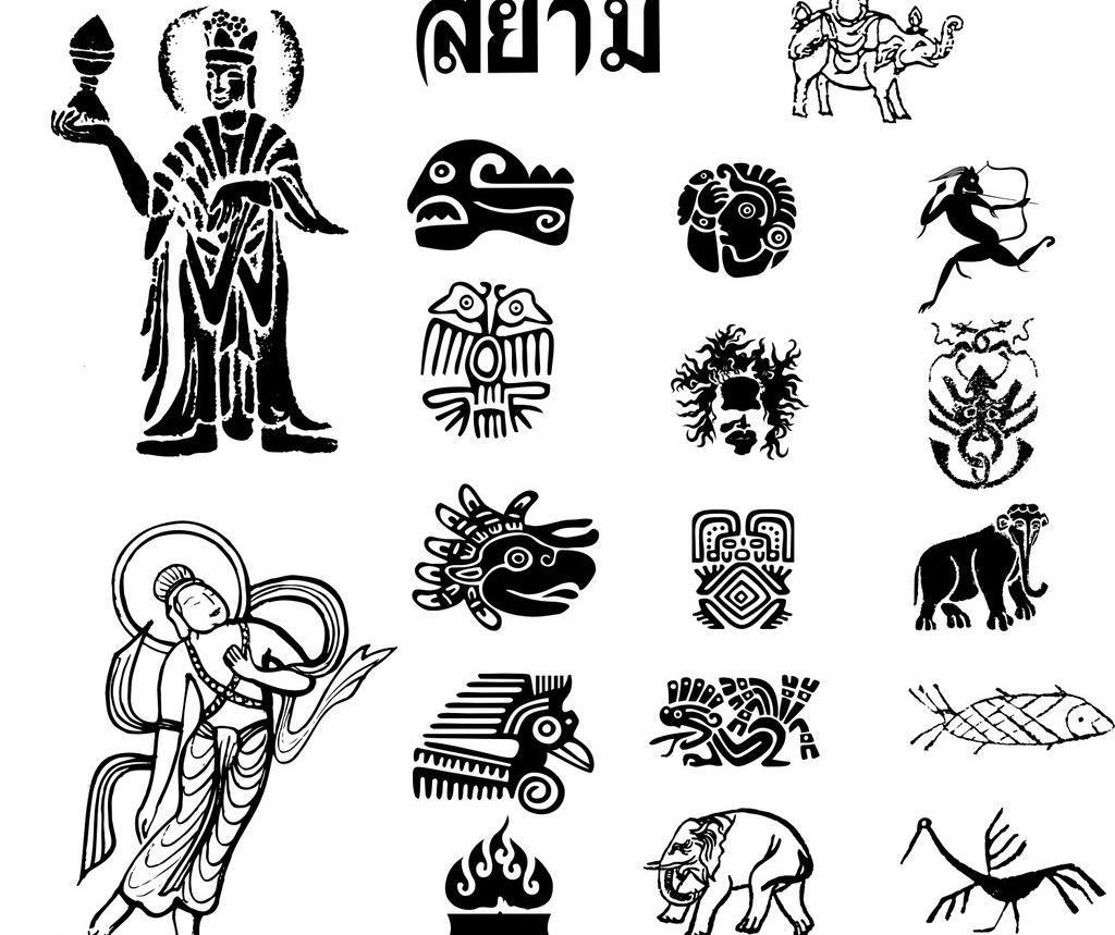 佛教 菩萨 观音 大象 图腾 印度 泰国 宗教 素材 元素 矢量 宗教信仰