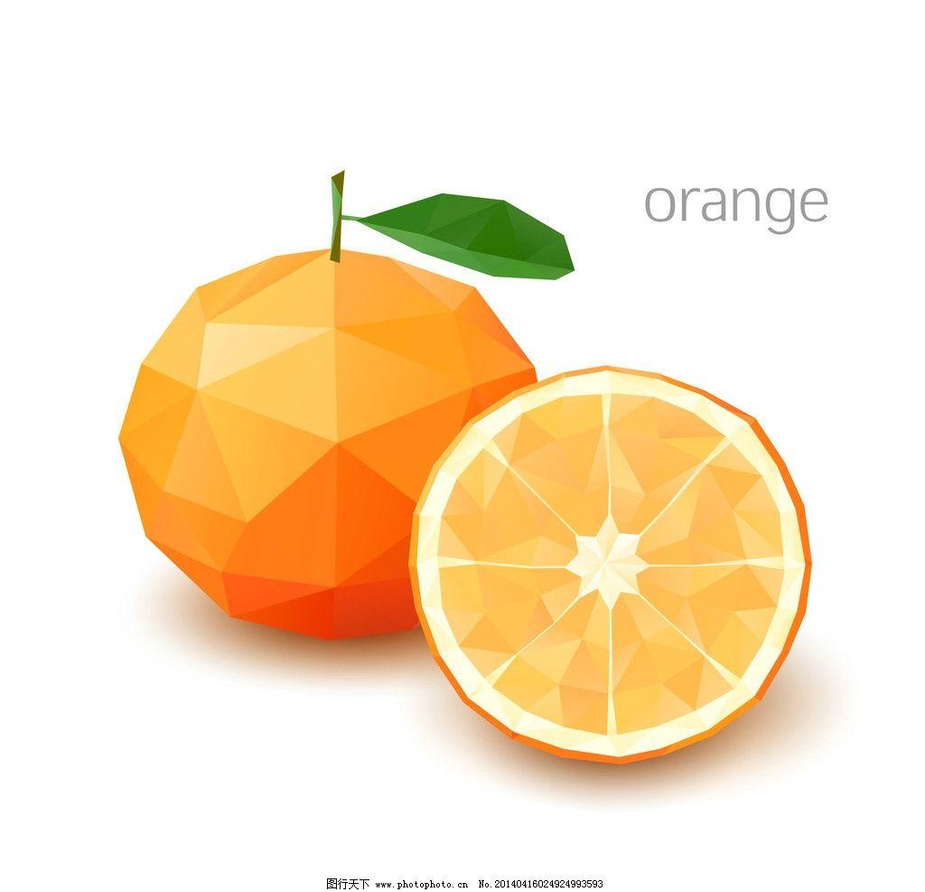 马赛克水果 水果 桔子 橙子 像素化 几何图案 创意设计 马赛克背景