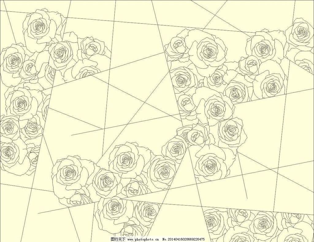 玫瑰花 线条 抽象花 浪漫 情调 古典 吉祥 背景墙 工艺玻璃