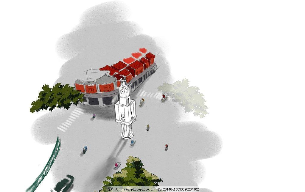泉州西街手绘 泉州 西街 手绘 水彩 钟楼 psd分层素材 源文件 72dpi