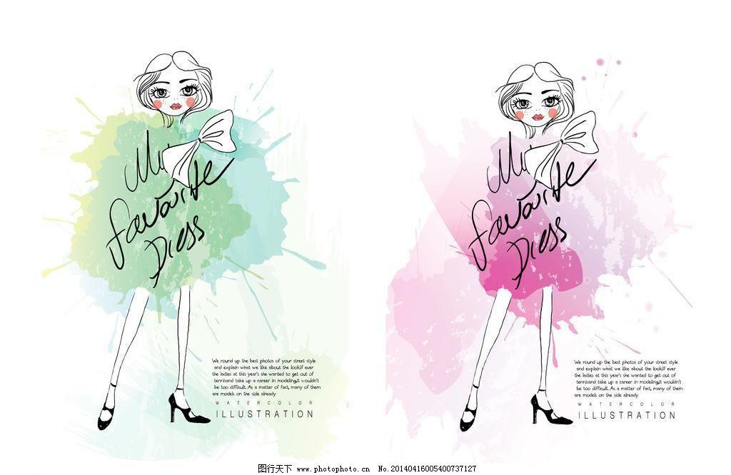 姑娘 手绘 小女孩 服装设计 素描 美丽 浪漫 时尚女孩速写插图 女生