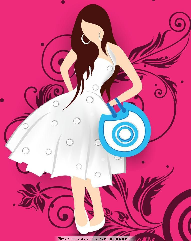 花瓣美女手绘 裙子