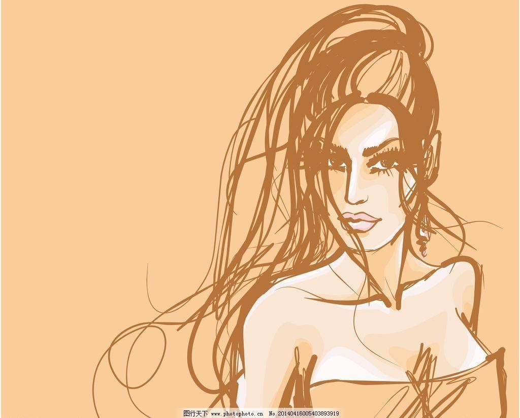 女子 手绘 小女孩 服装设计 素描 美丽 浪漫 时尚女孩速写插图 女生